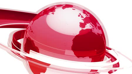 spřádání : High resolution 3D render of Earth with red reflections, spins one revolution per 10 seconds. Seamless HD 1080 looping clip. Selective focus on globe.