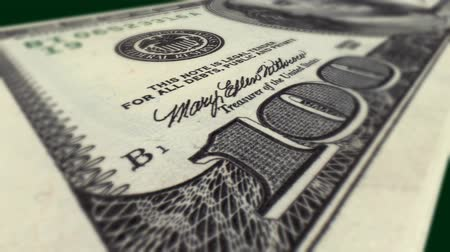 selektif : Super close-up macro DOF animation of real 100 dollar bill. HD 1080.-