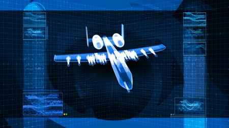 pilótafülke : 3D animation of military fighter jet rotating over design schematic grid background.- Stock mozgókép