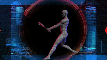 zobrazit : Animation of digital baseball player swinging a bat at a ball. Various high tech digital readouts.