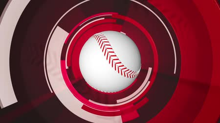 geometric : 3D animation of baseball in center with motion graphics rotating around. Seamless loopable video animation. Stock Footage