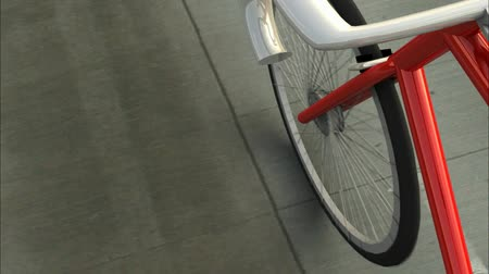 spřádání : Angled rider POV, red 10-speed bike rolling down the street. Seamless loop, make it as long as you want.