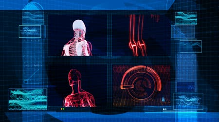 ciało : High tech 3D animation of man, skeleton, muscle, fingerprint, seamless 1080 HD looping video.- Wideo