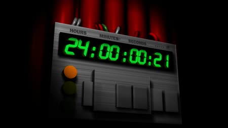 bomba : The countdown to zero begins! Handle at start, clock starts at 24 hours + 2 seconds, then begins countdown so you can see the 24 hour mark pass. HD 1080.- Stock Footage