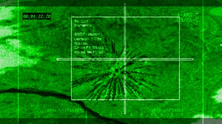 crosshair : Simulated animation of bomb hitting target. View from plane in mid air. 3D animation.-