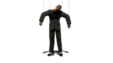 tiyatro : Do what I tell you! Man in suit with attached wires as puppet. HD 1080 seamless loop. Stok Video