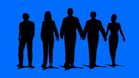 unrecognizable people : Men and women business team walking towards the camera on blue background. HD 1080 Seamless Loop. Animated 3D people. v.1-