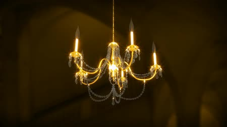żyrandol : 3D animation of a Chandelier Rotating in a room. Seamless looping animation. Wideo