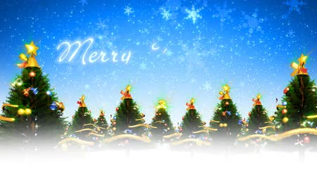 vetor : Animation of  Christmas trees and snowflakes on holiday  background. Seamless looping video animation.- Stock Footage