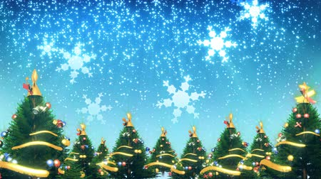 díszítés : Christmas trees, snow and snowflakes falling. HD 1080  Seamless Looping animation.-
