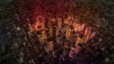 skyscraper : High resolution 3D animation of camera fly-over of a metropolitan city skyline. Seamless looping video animation.