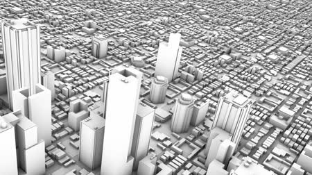 над : 3D animation aerial view of downtown metro city skyline and buildings, camera spins 360 degrees in a seamless loop. All black and white.