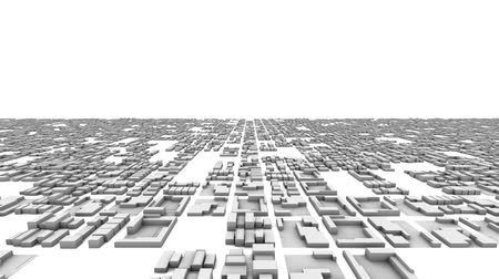 przyszłość : High resolution 3D animation of growing city skyscrapers. Camera starts close and moves to wide view.