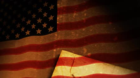 kongres : Close-up camera move animation of the Constitution of the United States of America composited over USA Flag.-