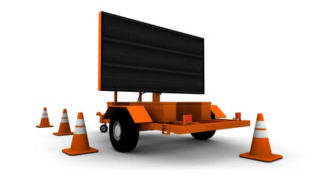 dohoda : Construction sign message board. Animated Message: Answers Next Exit. Seamless loopable video animation.-