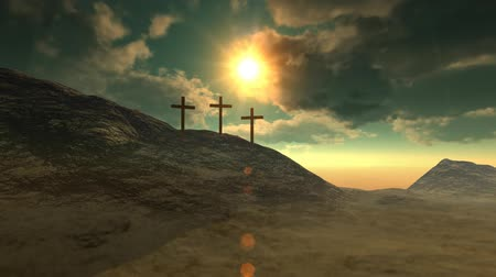 feltámadás : Crosses on Calvary hill outside ancient Jerusalem where Jesus Christ was crucified. 3D animation. v.1-