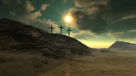 feltámadás : Crosses on Calvary hill outside ancient Jerusalem where Jesus Christ was crucified. 3D photo realistic high resolution render.-v.2 Stock mozgókép