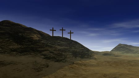 feltámadás : Crosses on Calvary hill outside ancient Jerusalem where Jesus Christ was crucified. 3D animation. v.4-