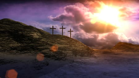 feltámadás : Crosses on Calvary hill outside ancient Jerusalem where Jesus Christ was crucified. 3D animation. v.3-