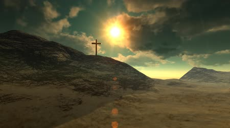 jeruzalém : Cross on Calvary hill outside ancient Jerusalem where Jesus Christ was crucified. 3D animation.-