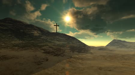feltámadás : Cross on Calvary hill outside ancient Jerusalem where Jesus Christ was crucified. 3D animation. v.2-