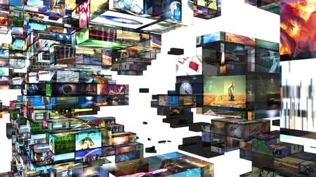 技术 : Various videos on 3D video walls. All videos in this animation are available in my portfolio as individual clips.