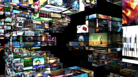 Various videos on 3D video walls. All videos in this animation are available in my portfolio as individual clips.