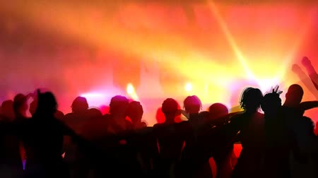 boate : 3D animation sillhouette of men and women dancing at club with lights in background. 3D animated people. Seamless looping video animation.-