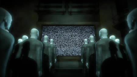kult : People watching a video screen of static. 3D animation.