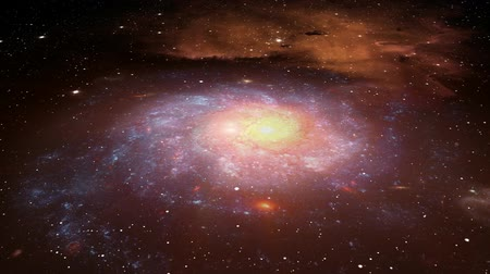Rotating deep space galaxy. Fractional parts of imagery sourced from public domain images from http:www.nasa.gov. Stars, clouds, gases, streaks, flares and glows as well as colorization and all animation and compositing by digital artist.-