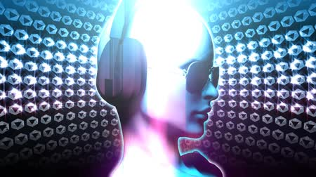 boate : Centered version of Diamond DJ Girl in blue. HD 1080 Seamless Loop. Rendered in 3D, effects added.-
