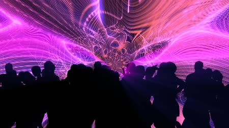 sylwetka : 3D animation silhouette of men and women dancing at club with huge fractal waveform lights in background.  Animated 3D people. HD 1080 Seamless loop. More in this series.-