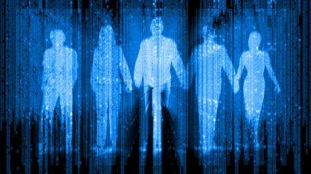 silhueta : Silhouette of five digital people walking towards the camera, 3 men, 2 women. Composited with a digital data matrix on random code. 3D animation composite.-