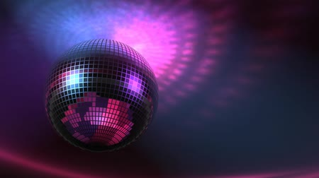 High rez raytraced 3D rotating Disco Ball with lights on ceiling. Seamless loop.