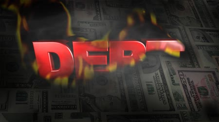 debts : Montage of US Money Burns to Reveal the Word DEBT HD