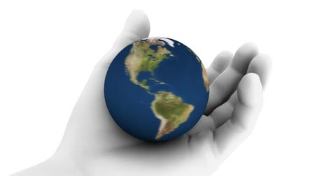 lét : High resolution raytraced 3D render of Earth being held in hand.-