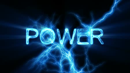 jiskří : Electrical arcs zapping and pulsing around the word POWER. Seamless looping video animation.