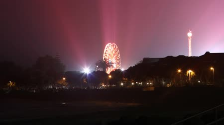adil : Time-Lapse shot on DSLR of public fair show at beach. Fireworks reflect off the ocean.