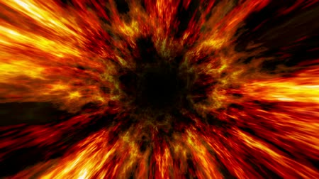 Zooming fast animation of an abstract fire wormhole like tunnel. Multiple layers and lots of color and depth. Seamless looping video animation. Vídeos