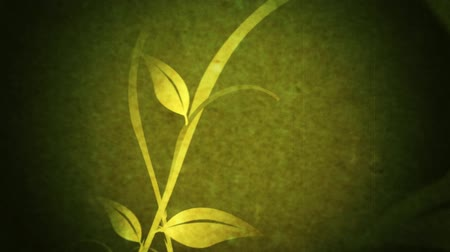 vetor : Animation element of long curvy vines growing with leaves. Green grunge background. Vectors drawn from scratch.-