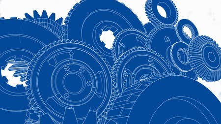 dosya : Blueprint sketch drawn look - 3D animation of gears turning. Seamless looping video.-