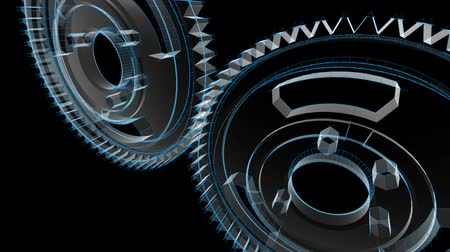 indústria : Wireframe X-ray look - 3D animation of gears turning. Seamless looping video.-