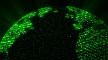 шифрование : Earth made of a digital network matrix rotates with light rays shinning through.-