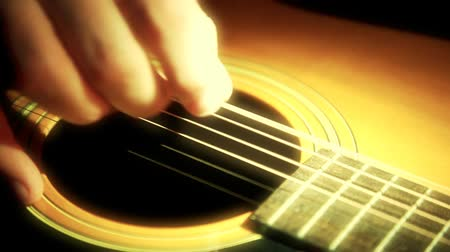 gitáros : Close-up of person playing guitar. Shot on HD 1080P.-