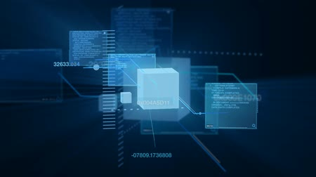 (HD Loop) - Abstract data code interface matrix and info typing on screens. HD 1080 Seamless loop.-