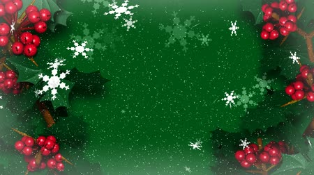 падуб : Looping animation of Christmas Holly Ivy with Snow Flakes Falling. Seamless looping 3D video animation.-