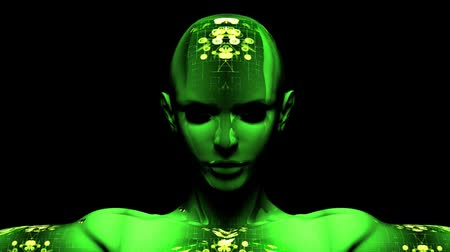 robots : Super high resolution 3D render of digital cyber woman with network texture.- Stock Footage