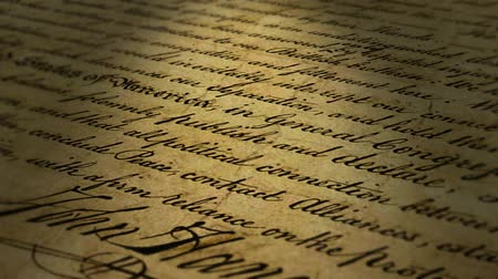 hukuk : Super, macro close-up of John Hancocks signature on the United States Declaration of Independence.- Stok Video