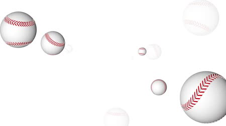 forma tridimensional : 3D animation of baseballs flying towards the camera. Seamless looping video animation.