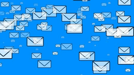 конверт : Mail Icons flying around on blue background. Seamless loop (loop to make clip as long as you need). See more in the HD Gener8_FX series.